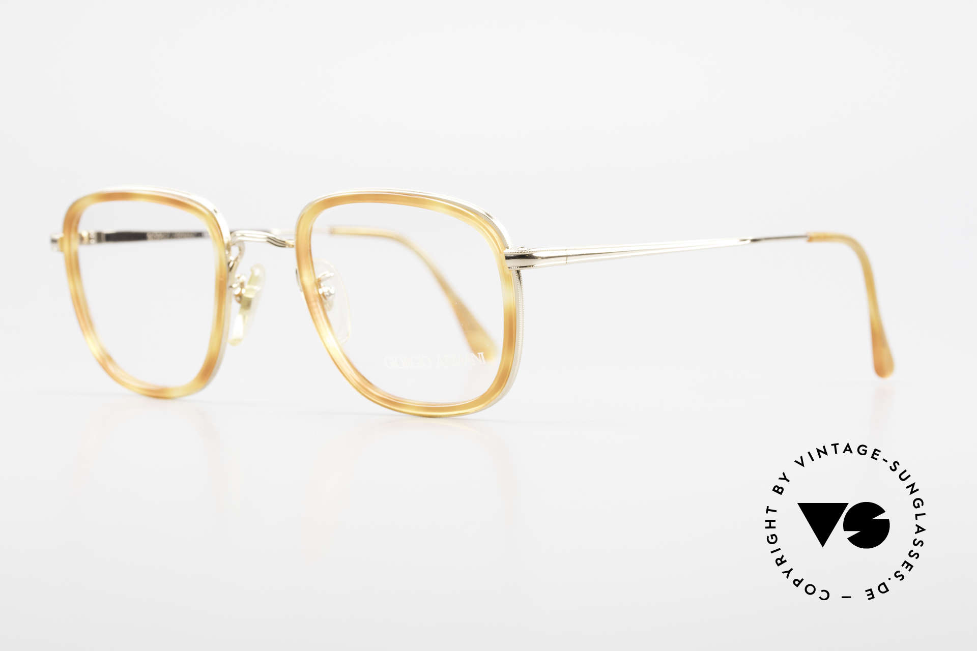 Giorgio Armani 102 Square Vintage Eyeglasses 90's, GOLD-PLATED frame with light tortoise plastic rings, Made for Men and Women