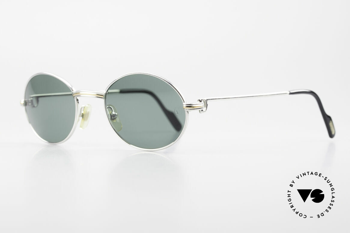 Cartier Saint Honore Oval Luxury Sunglasses 90's, very rare & precious version with a platinum finish, Made for Men