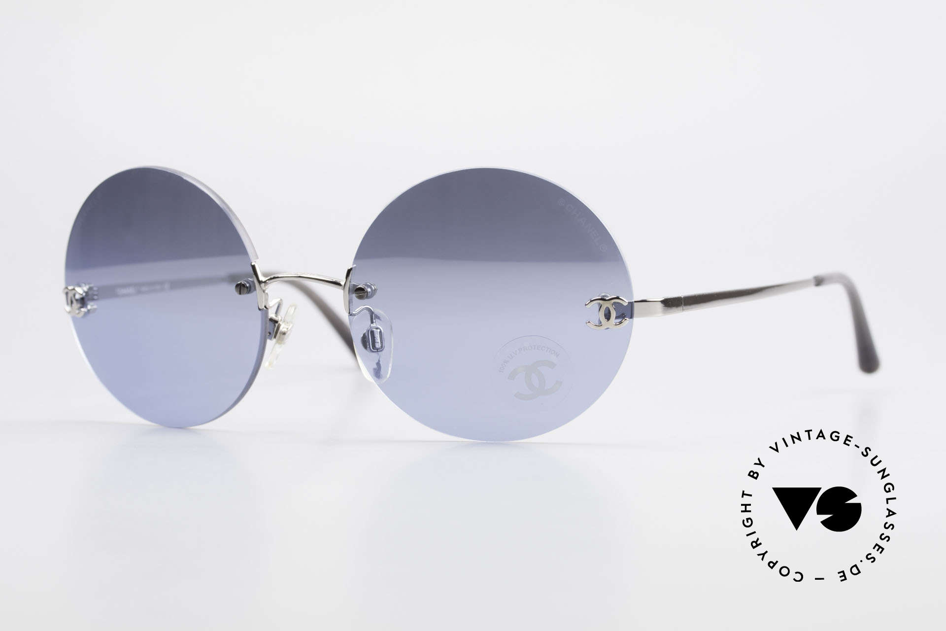 Chanel 4056 Round Luxury Shades Rimless, rare CHANEL shades, model 4056 in Medium size 53-18, Made for Men and Women