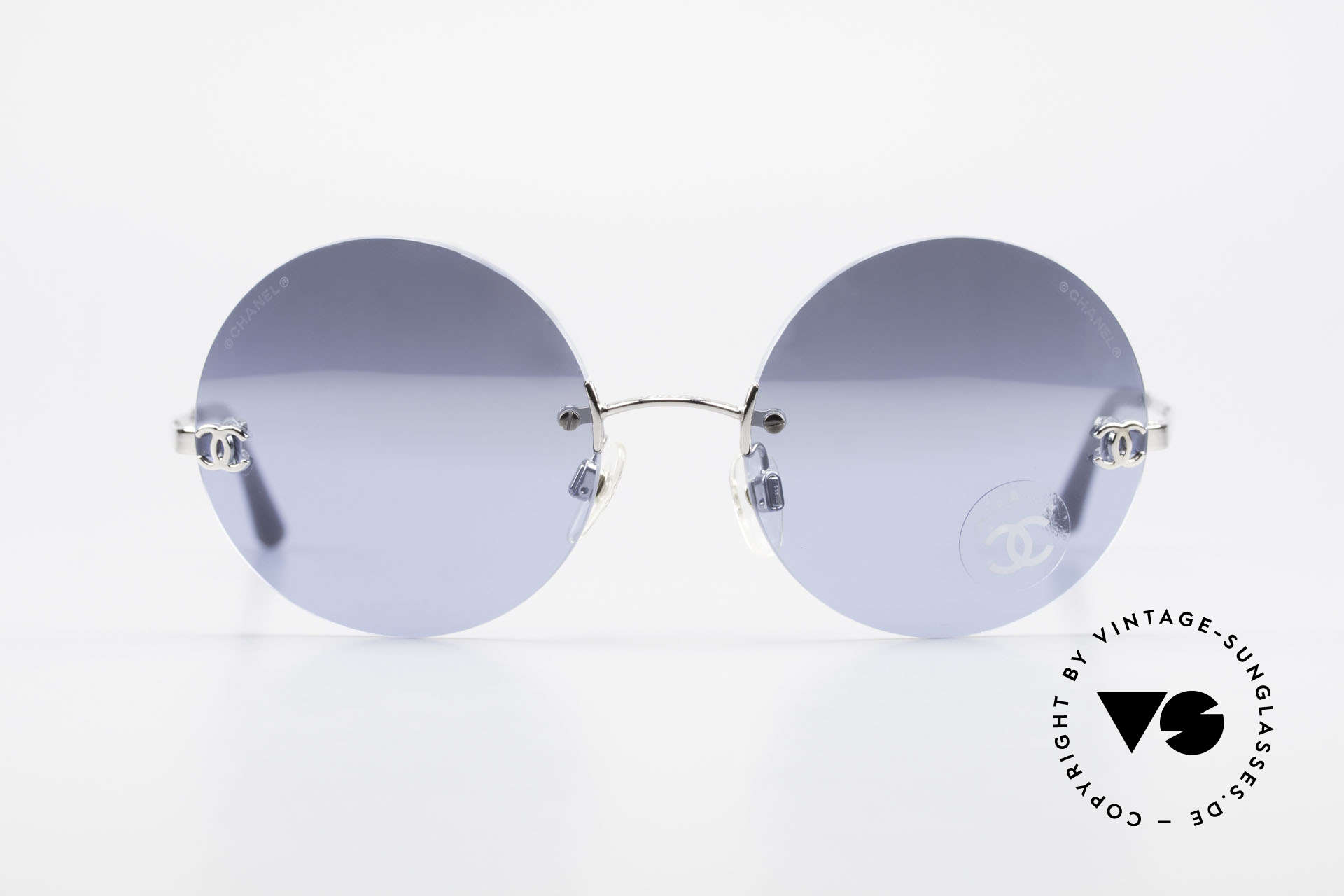 Chanel 4056 Round Luxury Shades Rimless, vintage round (rimless) sunglasses; weighs only 18g!, Made for Men and Women