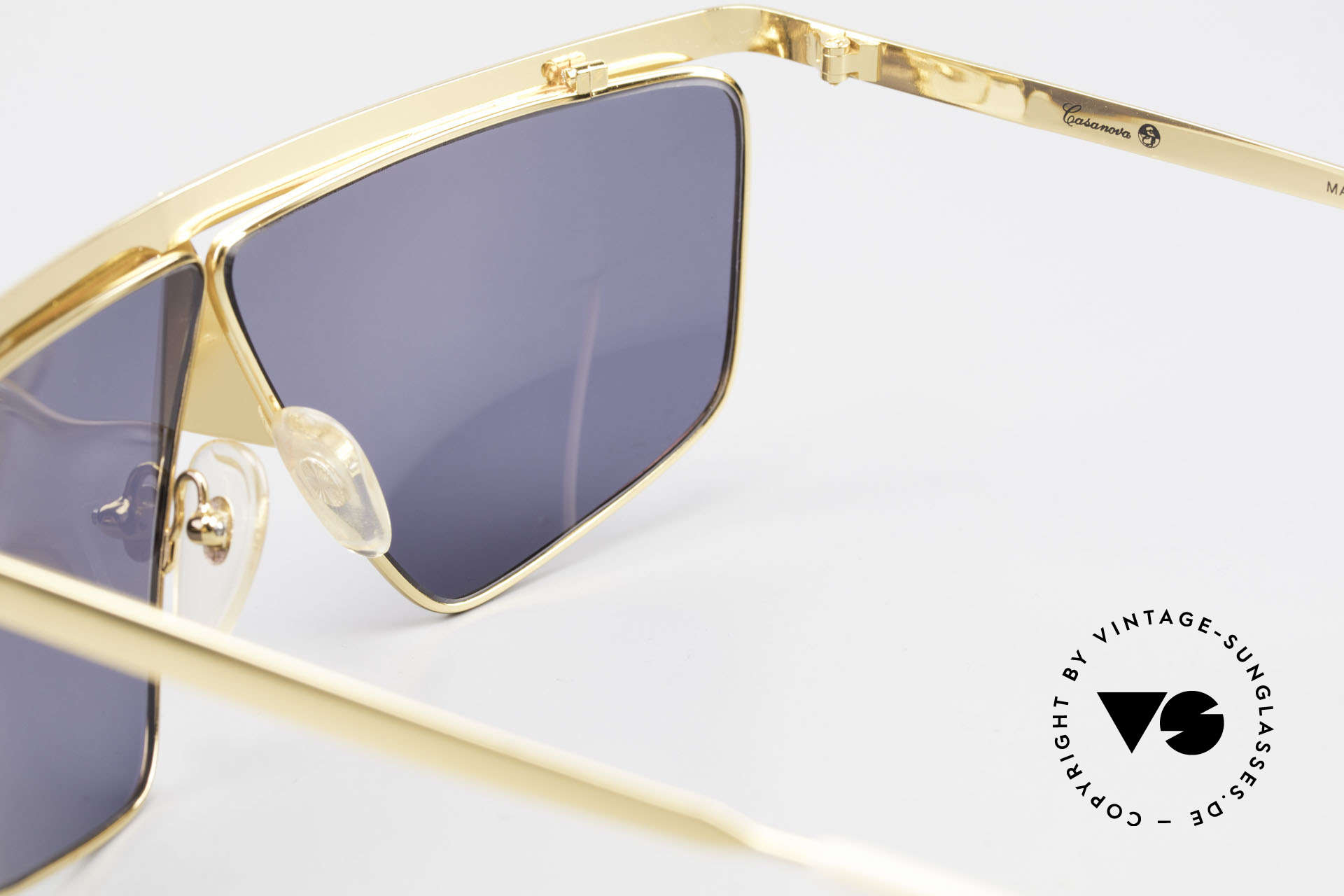 Casanova FC10 Noseguard Sunglasses 24kt, NOS - unworn (like all our artistic vintage eyeglasses), Made for Men and Women