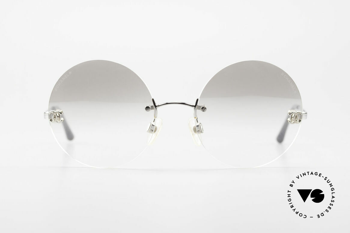 Chanel 4056 Round Luxury Sunglasses 90's, VINTAGE round (rimless) sunglasses; weighs only 18g!, Made for Men and Women