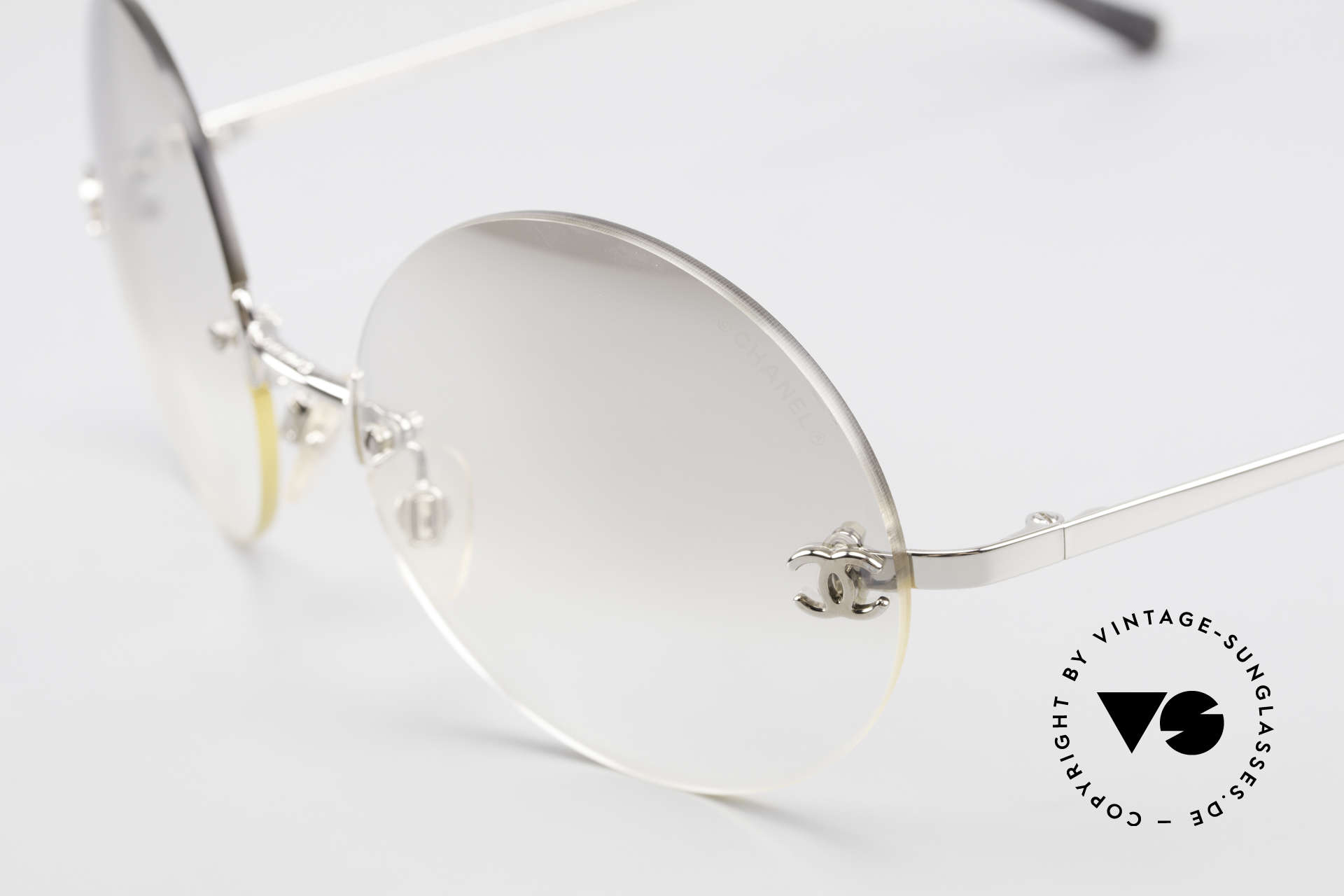 Chanel 4056 Round Luxury Sunglasses 90's, light tinted nonreflecting lenses; also wearable at night, Made for Men and Women