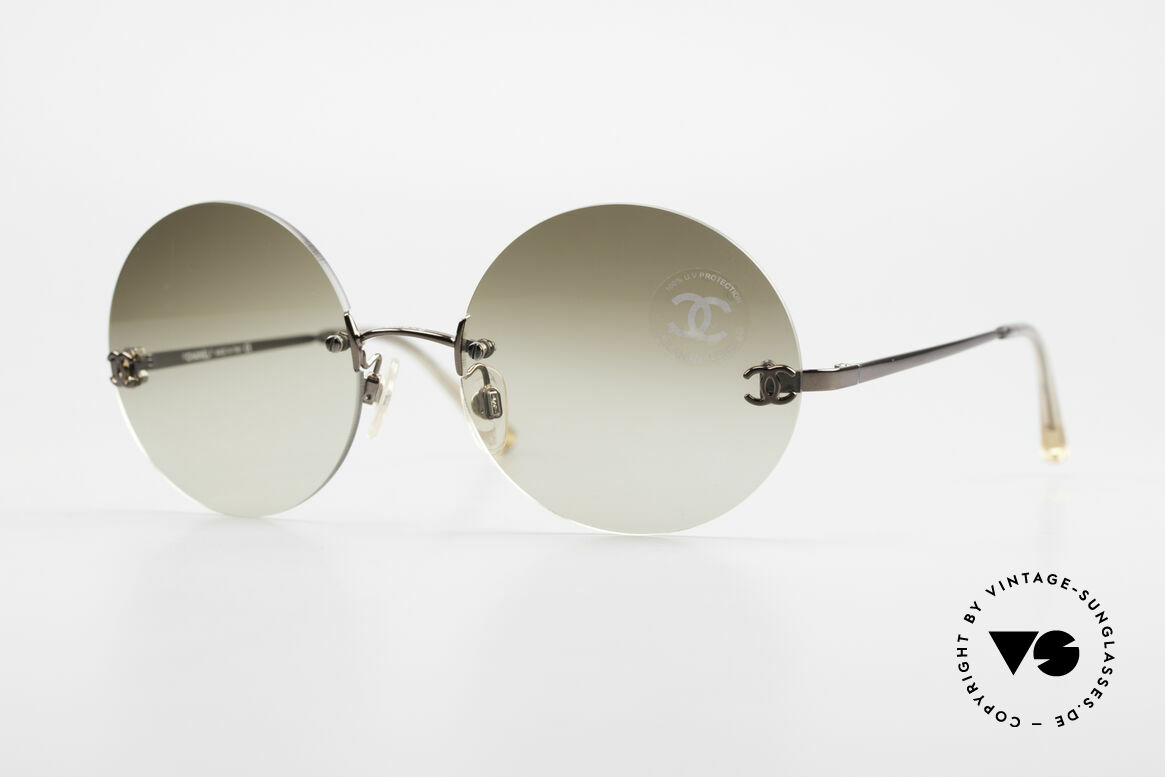 Chanel 4056 Round 90's Luxury Sunglasses, rare CHANEL shades, model 4056 in Medium size 53-18, Made for Men and Women