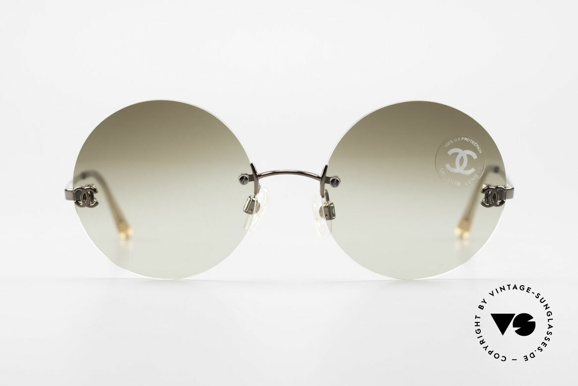 Chanel 4056 Round 90's Luxury Sunglasses, VINTAGE round (rimless) sunglasses; weighs only 18g, Made for Men and Women