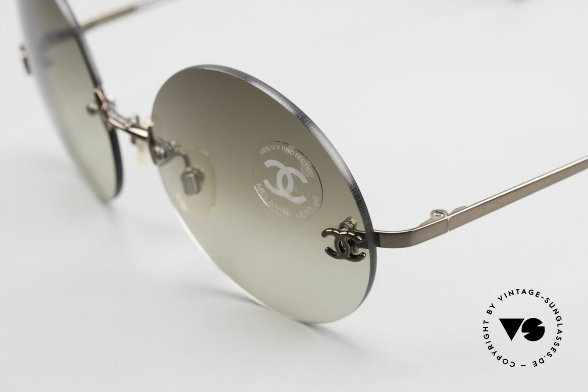 Chanel 4056 Round 90's Luxury Sunglasses, brown sun lenses are light-mirrored; 100% UV protection, Made for Men and Women