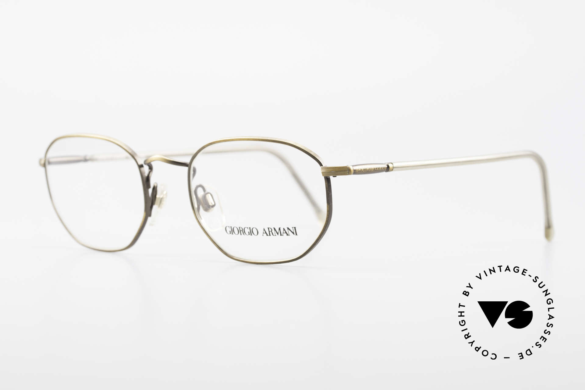 "Giorgio Armani 187 Classic Men's Eyeglasses 90's, brilliant frame finish in a kind of ""antique gold""/brass, Made for Men"