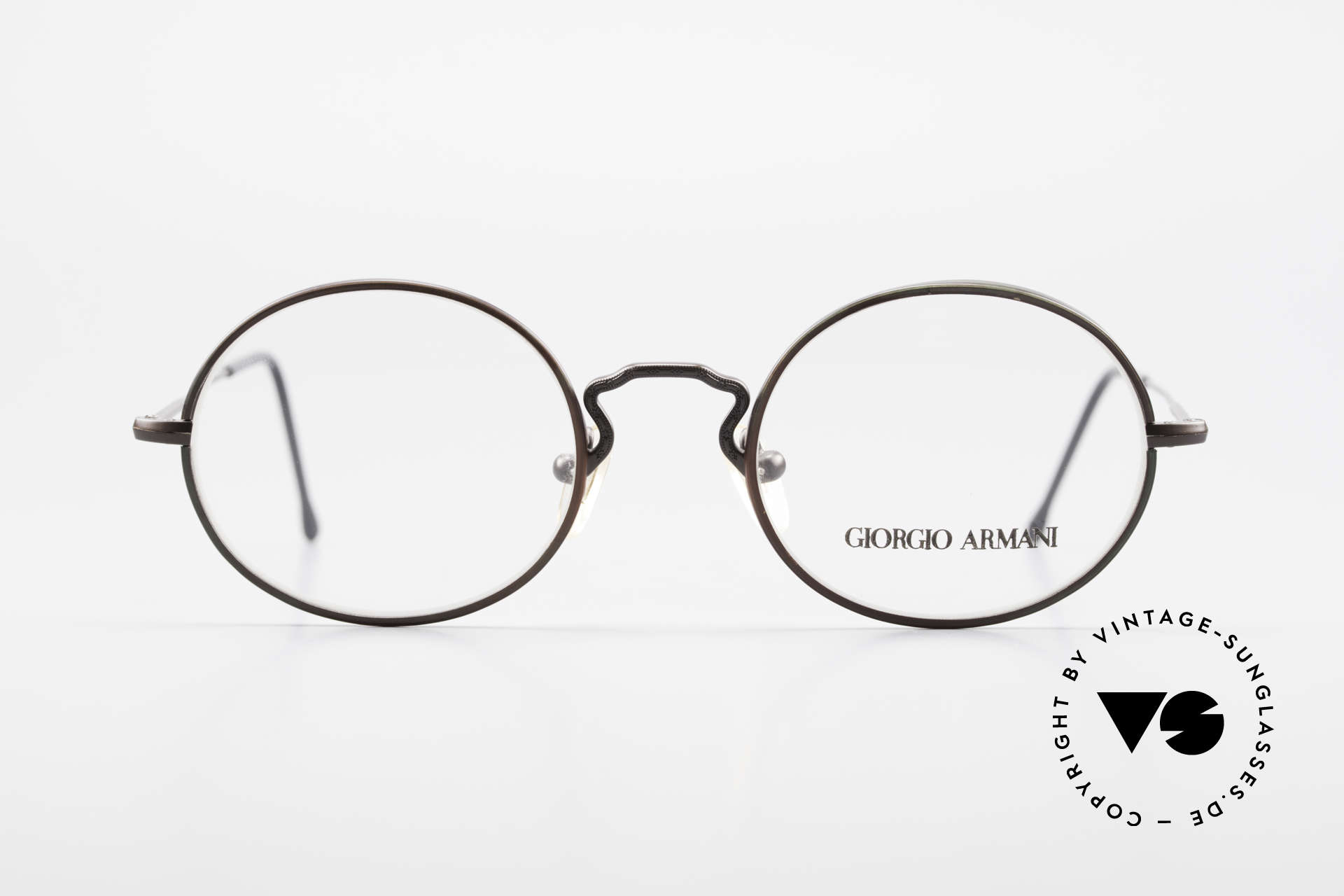 Giorgio Armani 247 Finish Shines Brown And Green, oval frame design; M size 49/20 - a timeless classic!, Made for Men