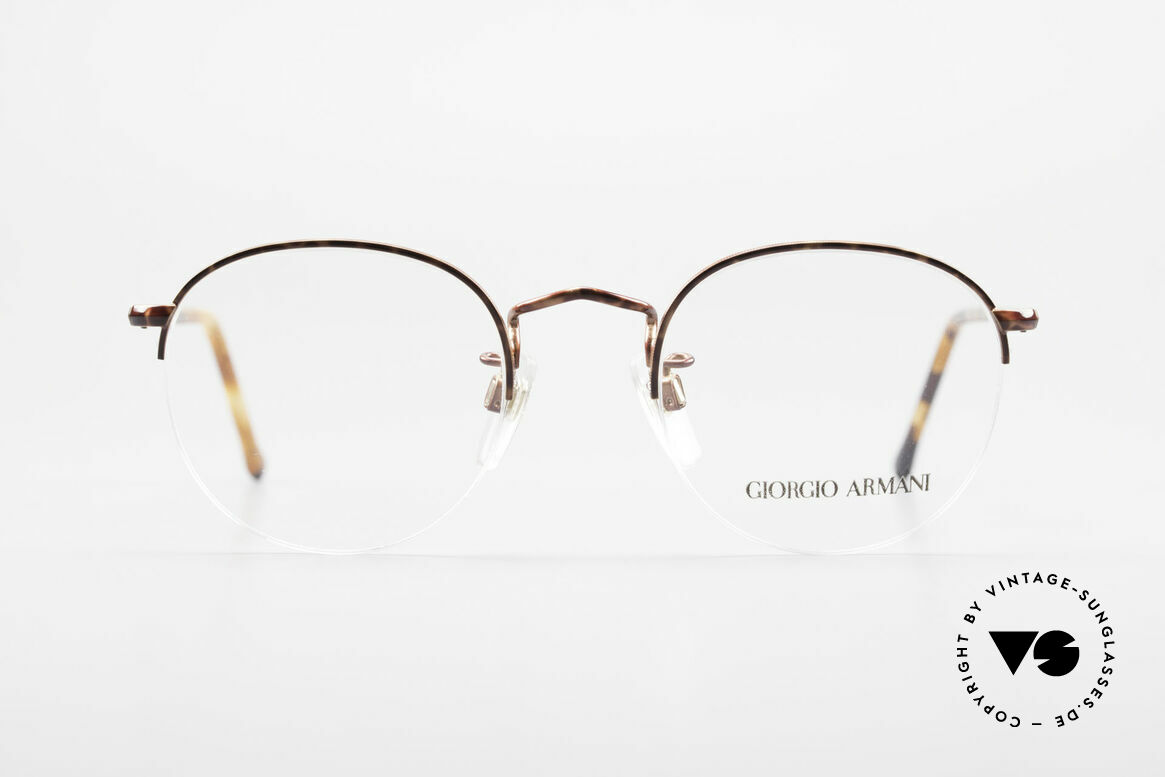 Giorgio Armani 142 Rimless Panto Glasses Small, round 'panto design' with discreet elegant coloring, Made for Men and Women