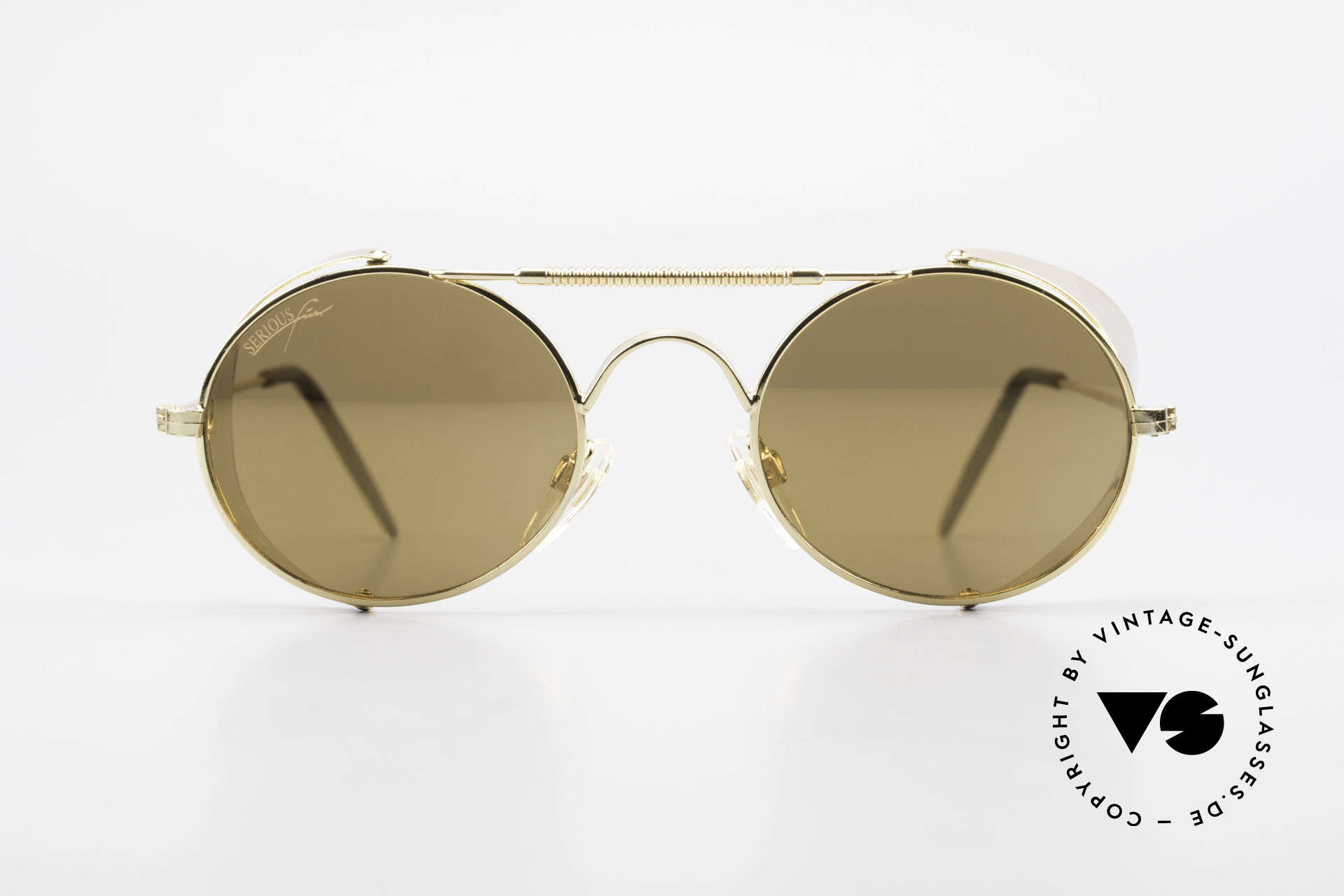 Serious Fun Frogman Steampunk Sunglasses Gold, eye-catching sunglasses (Steampunk style) from 1995, Made for Men and Women
