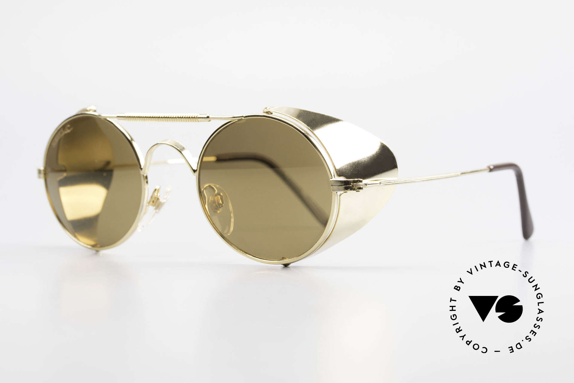 Serious Fun Frogman Steampunk Sunglasses Gold, gold mirrored lenses for extreme weather-conditions, Made for Men and Women