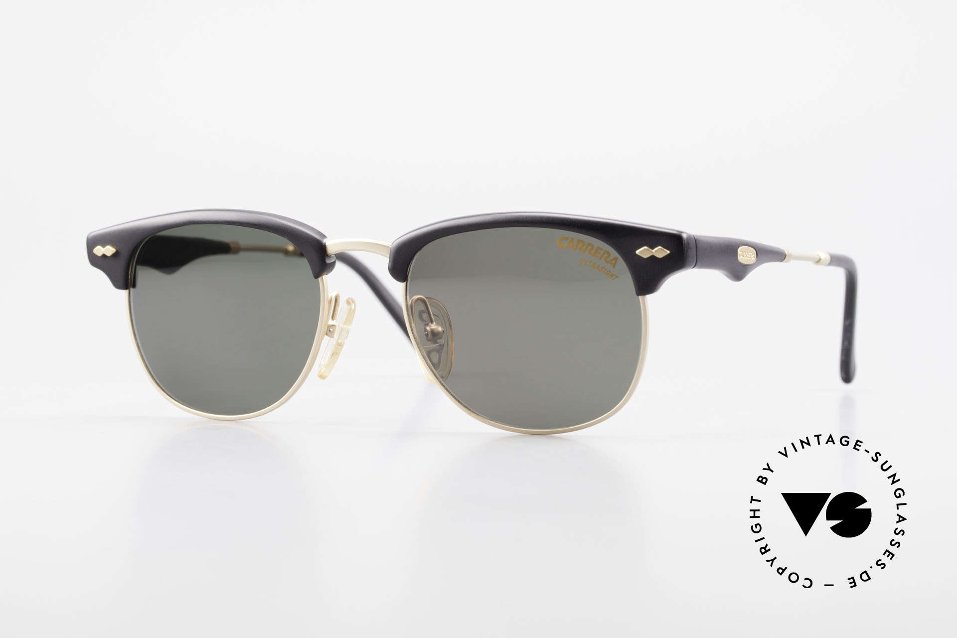 Carrera 5624 Clubmaster Style Sunglasses, timeless vintage CARRERA designer sunglasses + case, Made for Men