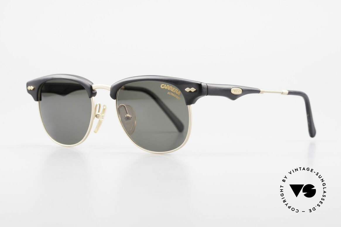 Carrera 5624 Clubmaster Style Sunglasses, true 'gentlemen glasses' in top-quality (black / gold), Made for Men