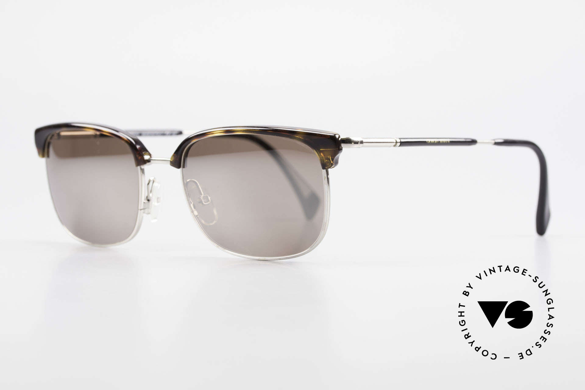 Giorgio Armani 788 Square Panto Sunglasses Men, silver / tortoise frame with flexible spring hinges, Made for Men