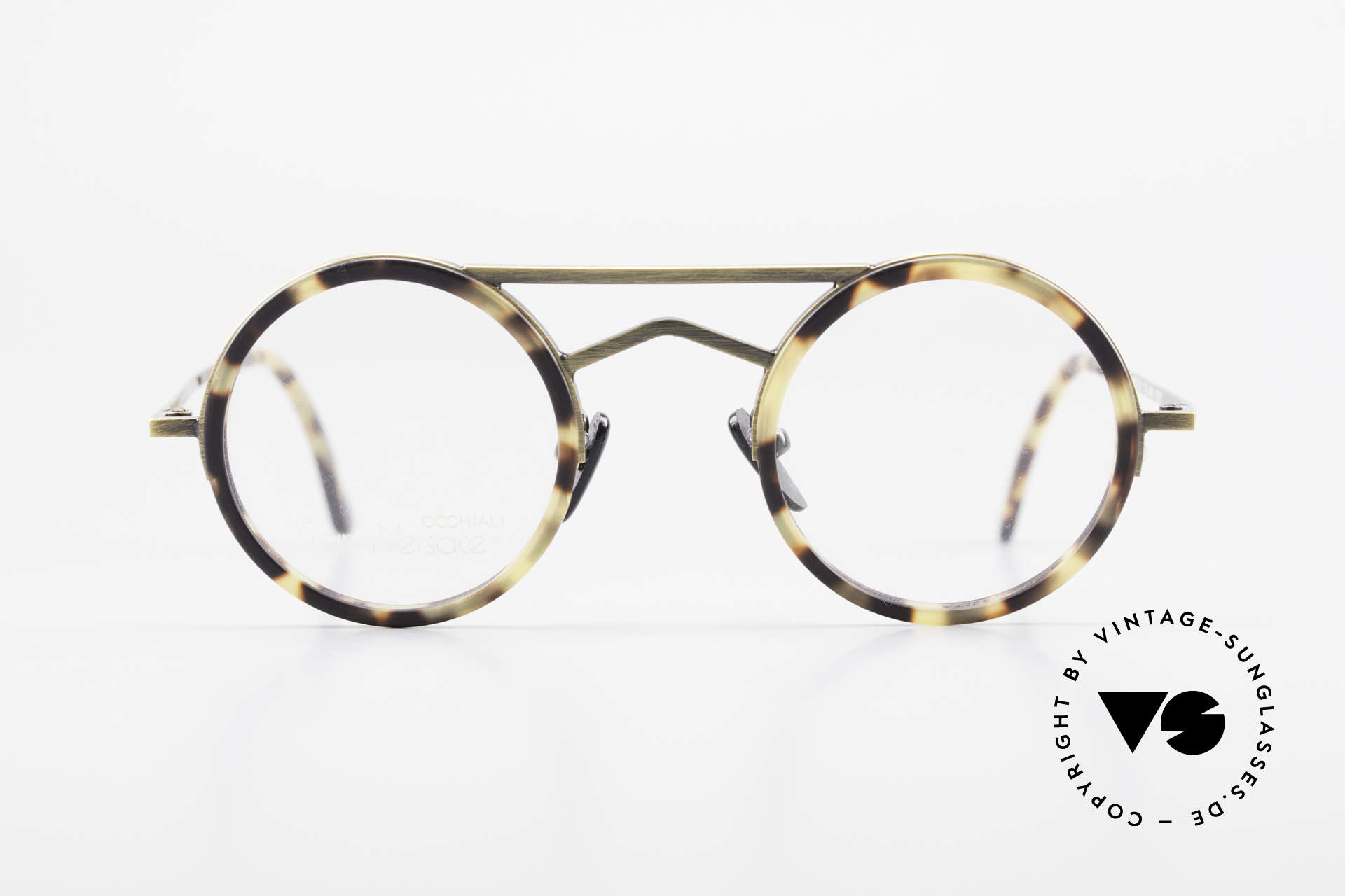 Gianni Versace 620 Round 90's Vintage Eyeglasses, geometrical elements and striking double bridge, Made for Men and Women