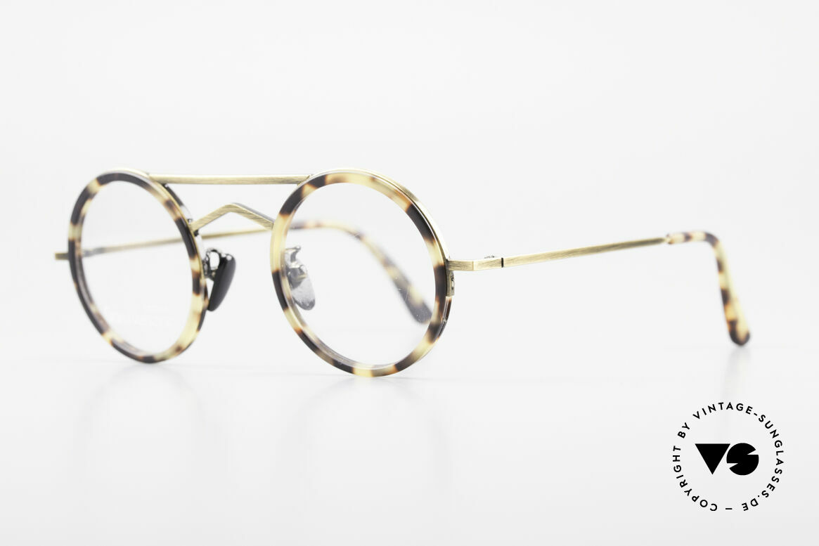 Gianni Versace 620 Round 90's Vintage Eyeglasses, great color combination (antique brass / tortoise), Made for Men and Women