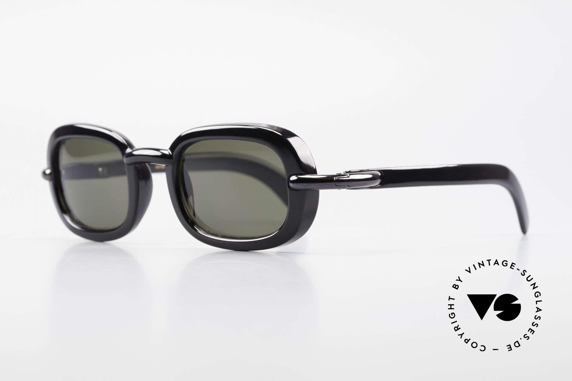 Karl Lagerfeld 4117 Rare 90's Ladies Sunglasses, timeless black frame with gray polycarbonate sun lenses, Made for Women