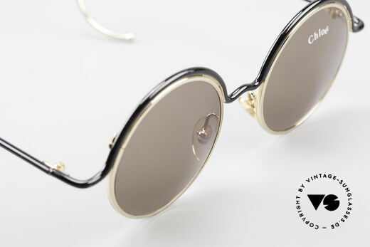 Chloe Show 1 Round Ladies Sunglasses 90's, gray-brown sun lenses for 100% UV protection, Made for Women