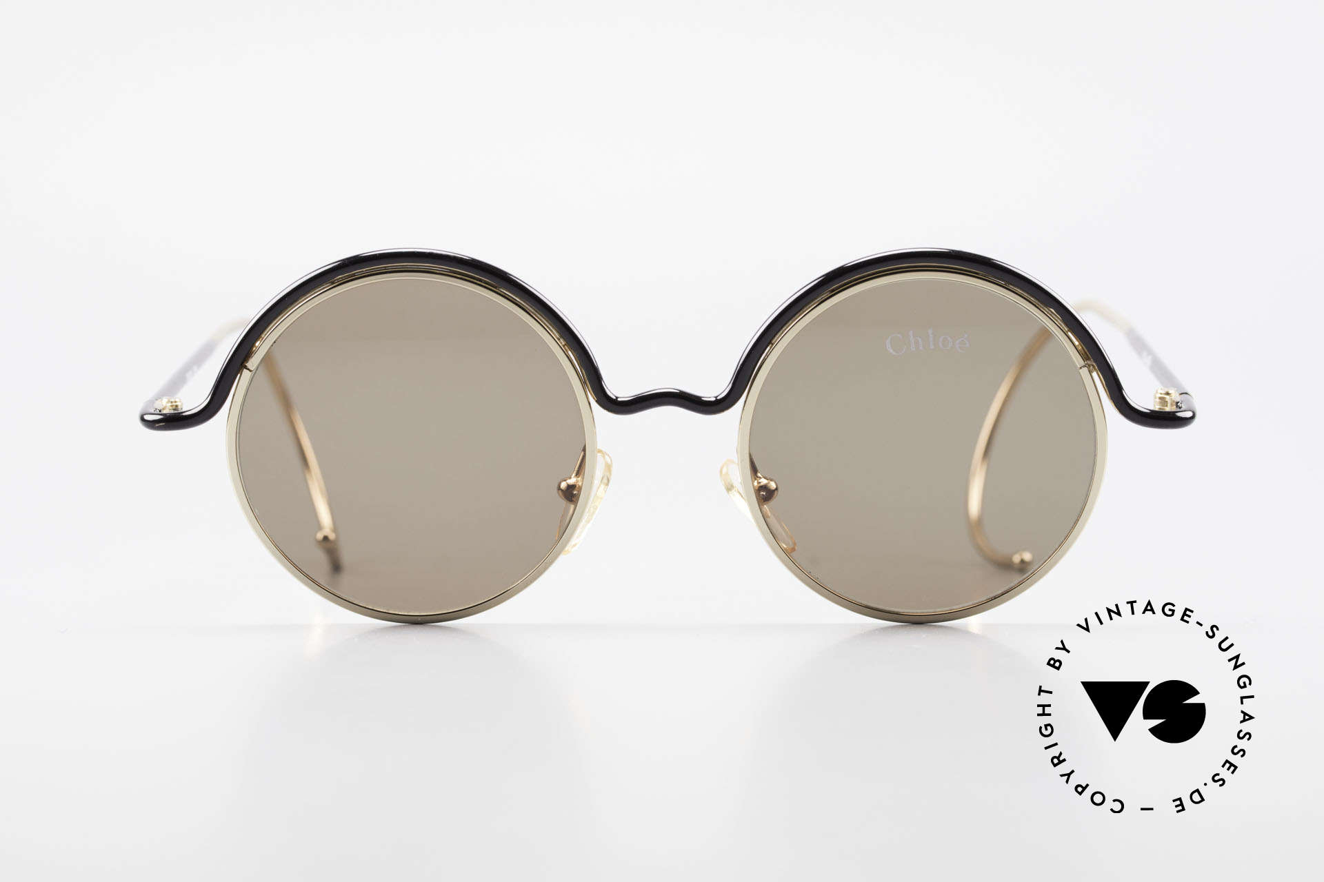 Chloe Show 1 Round Ladies Sunglasses 90's, timeless shades with flexible sports temples, Made for Women