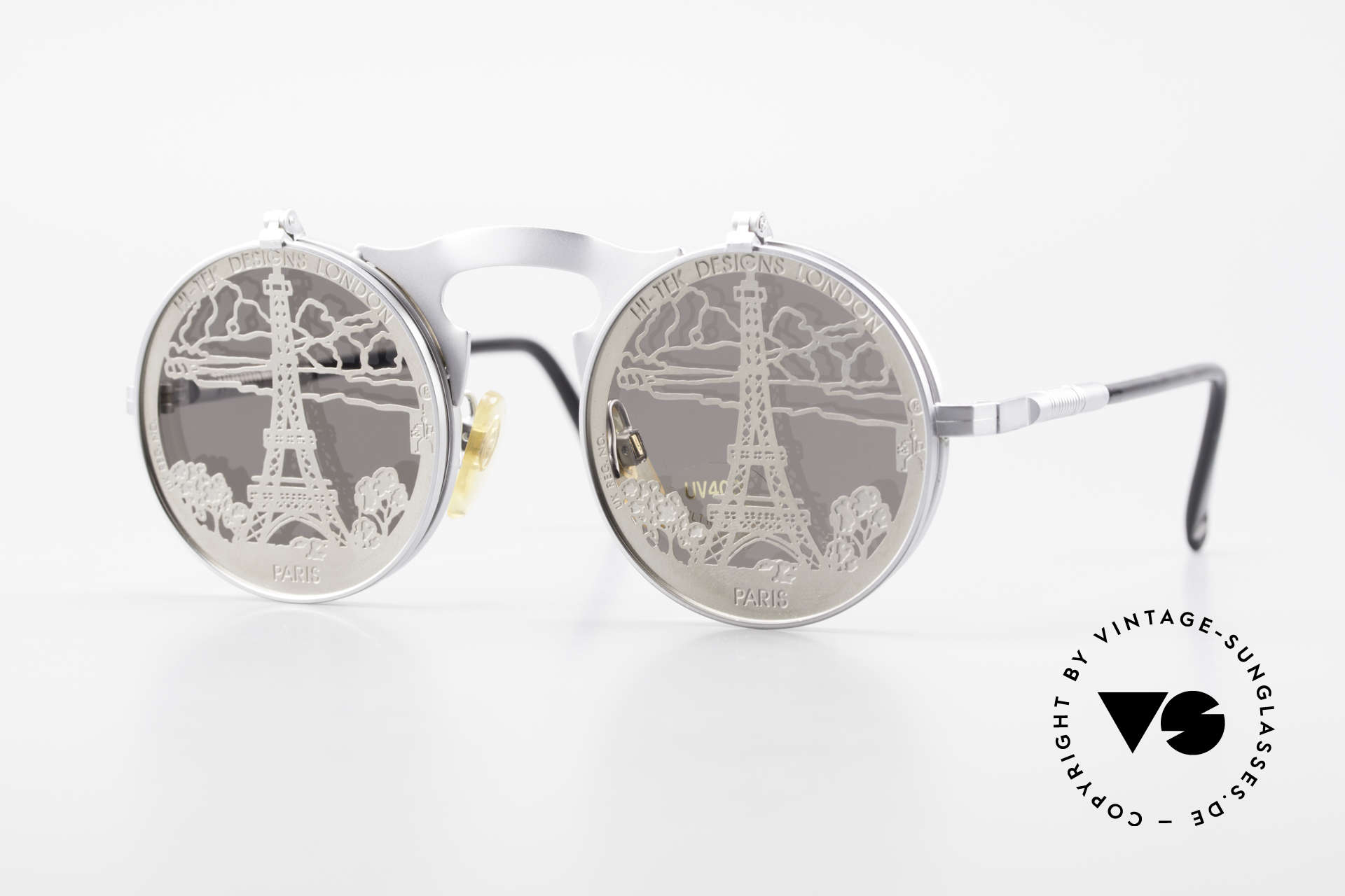 Hi Tek Paris Flip Up Sunglasses Steampunk, Hi-Tek sunglasses, model Paris from 1992, Steampunk, Made for Men and Women