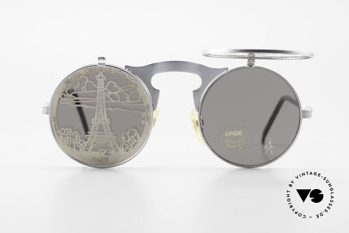 Hi Tek Paris Flip Up Sunglasses Steampunk, round, retro-futuristic by HI-TEK DESIGNS LONDON, Made for Men and Women