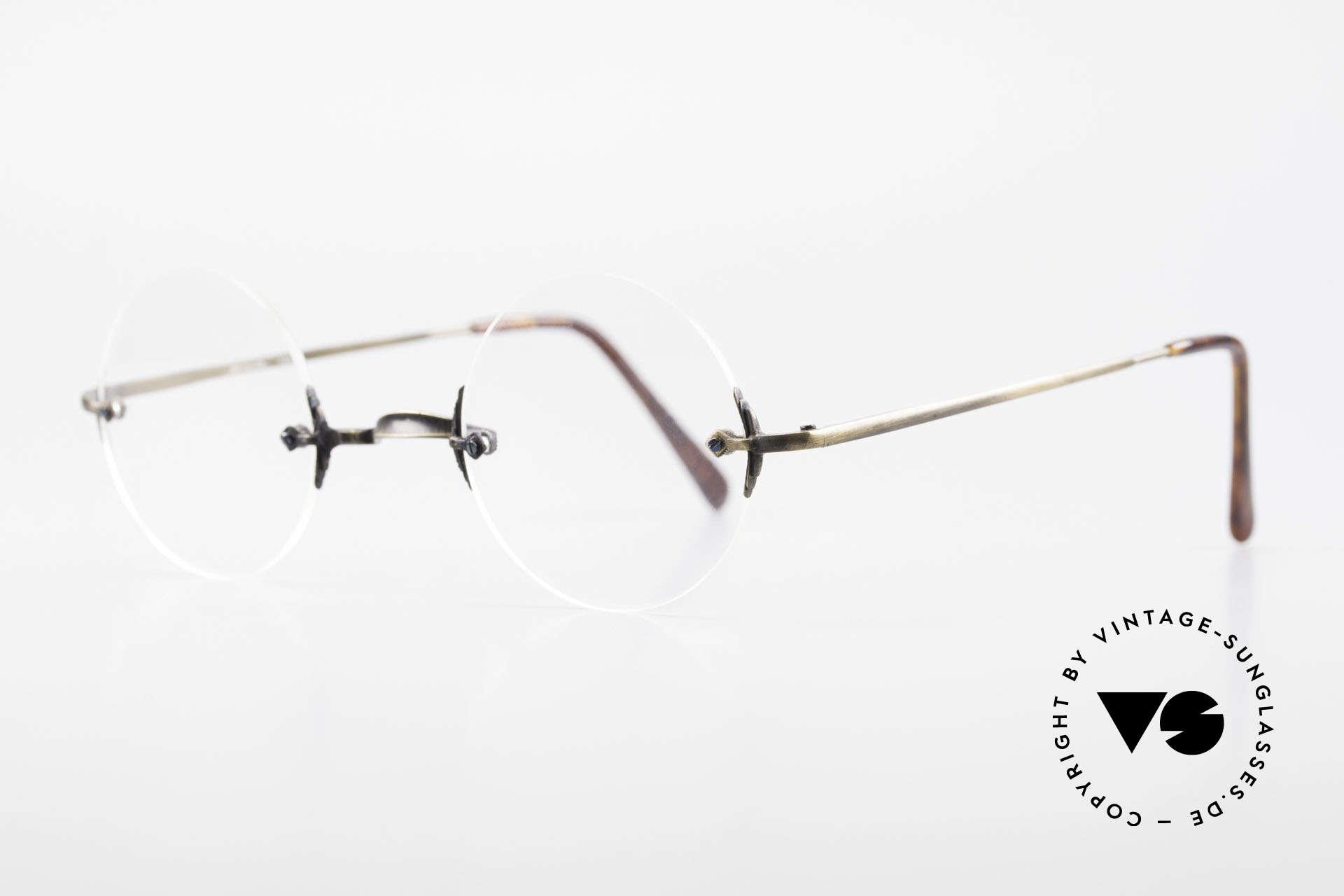 """Bonneville by Brendel Timeless Plain Rimless Specs, elegant timeless frame finish in """"antique brass"""", Made for Men and Women"""
