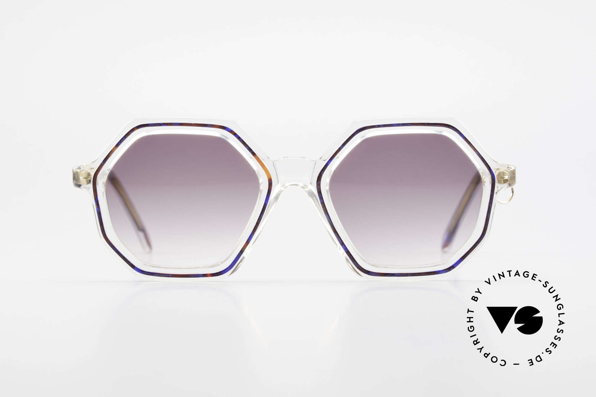 Sonia Rykiel SR46 756 Octagonal 70's Sunglasses, a true rarity, clear frame with blue & red + golden Ring, Made for Women