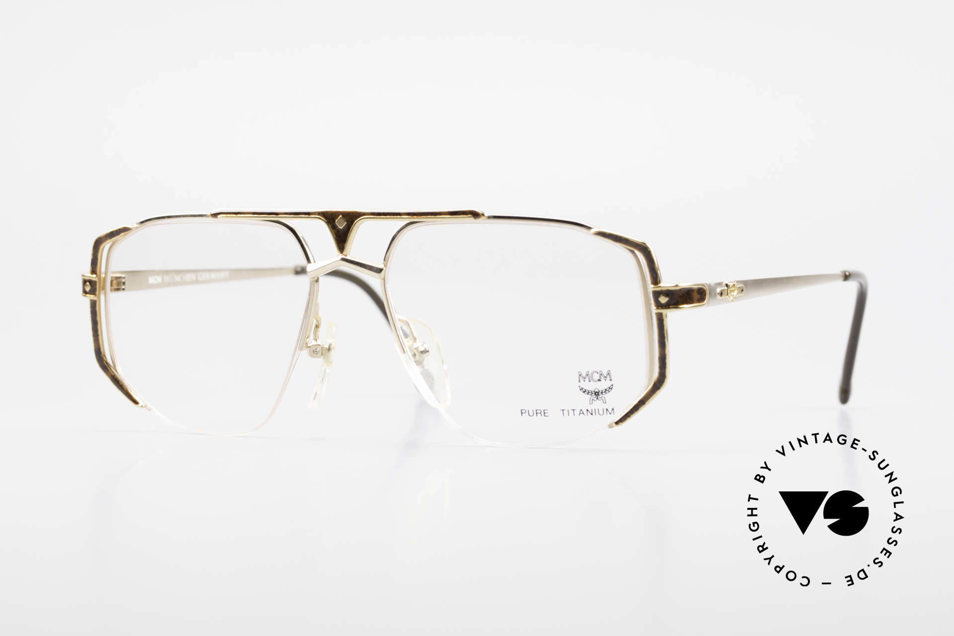 MCM München 5 Titanium Glasses Gold Plated, old designer eyeglasses by MCM from the early 1990's, Made for Men