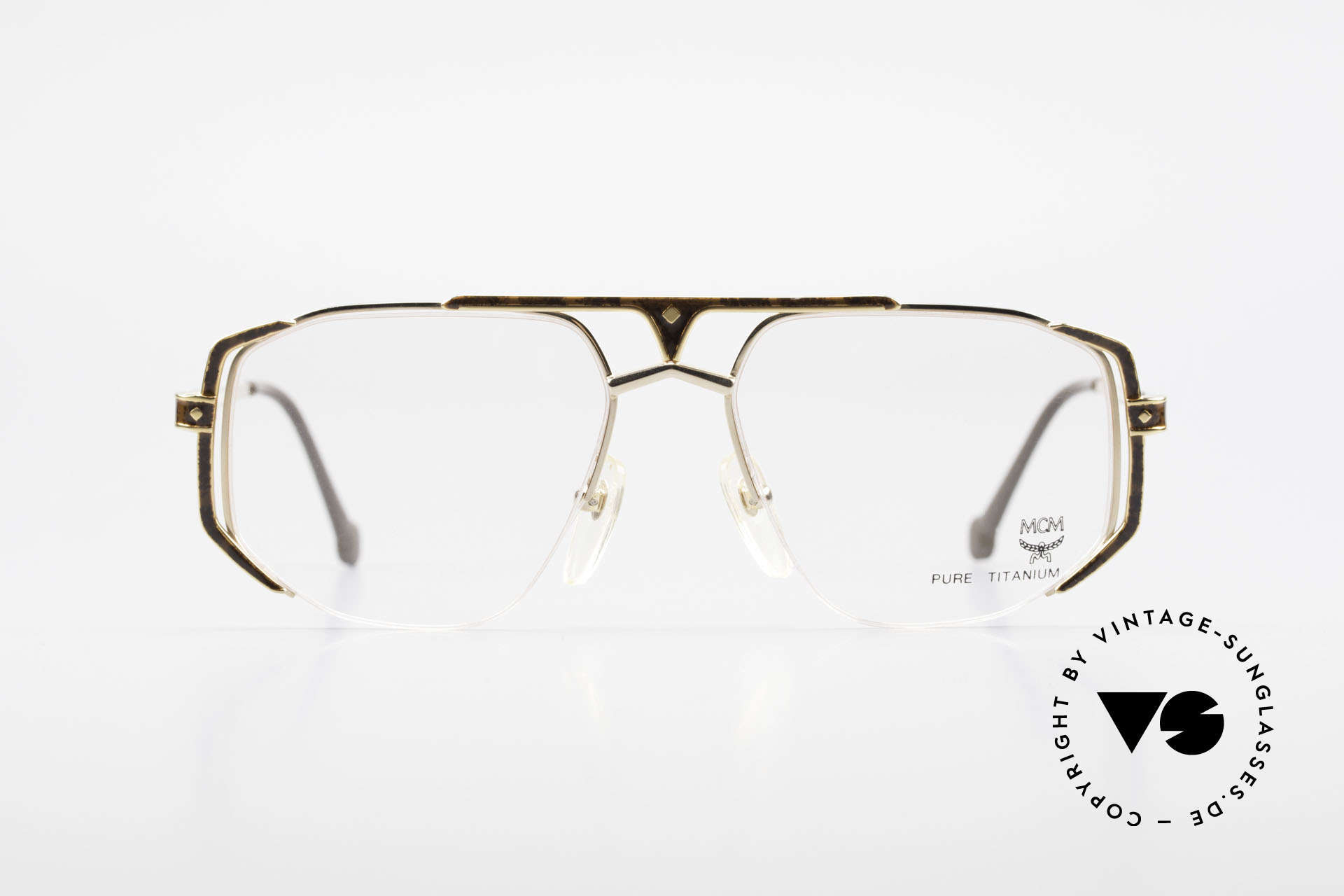 MCM München 5 Titanium Glasses Gold Plated, pure TITANIUM; gold-plated and root-wood appliqué, Made for Men