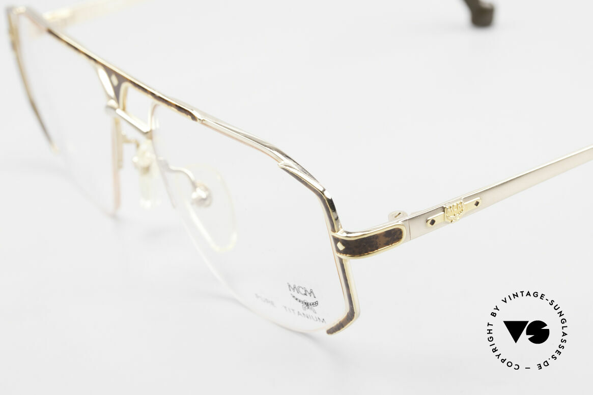 MCM München 5 Titanium Glasses Gold Plated, very comfortable frame (only 22 gram) in size 54/17, Made for Men