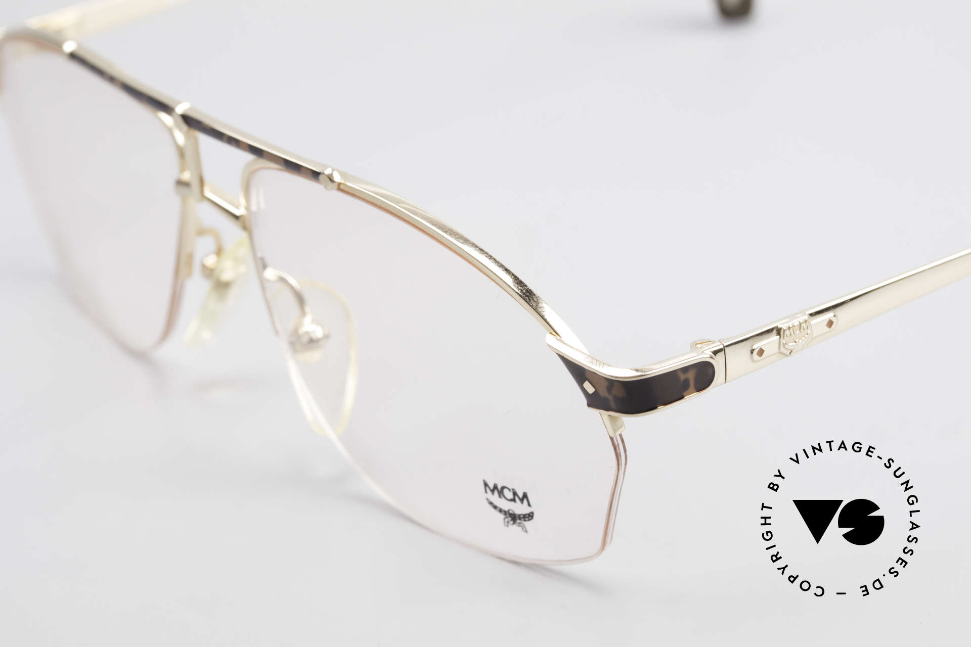 MCM München 10 Gold Plated Frame Root Wood, very comfortable frame (semi rimless) in L size 56/22, Made for Men