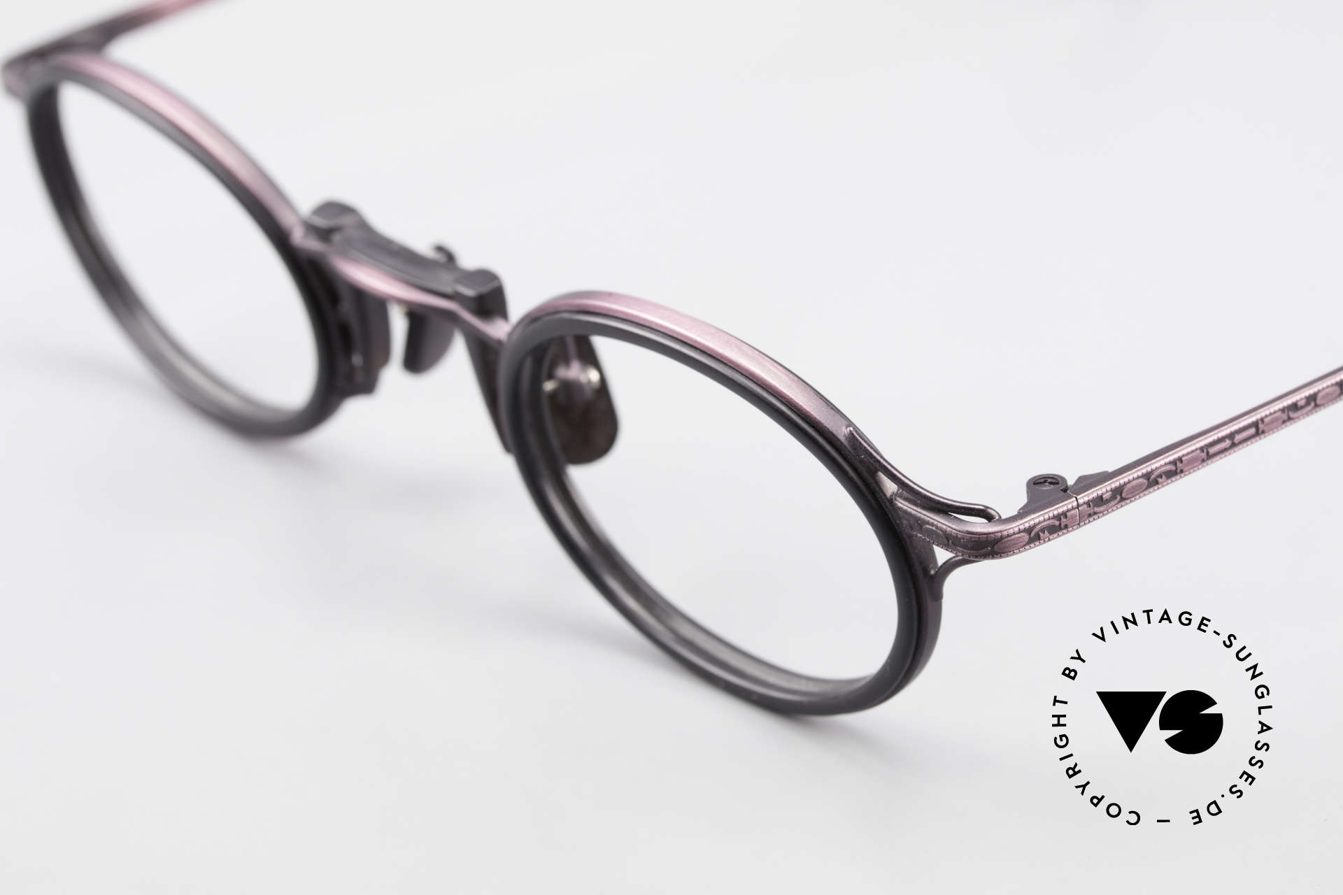 "Freudenhaus Andua Oval 90's Designer Frame, unique pattern in a kind of ""antique purple"" & black, Made for Women"