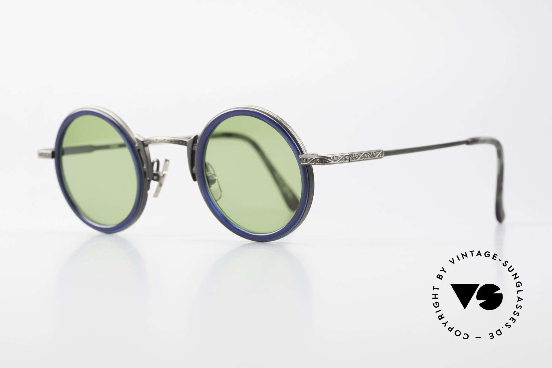 Freudenhaus Domo Round Designer Sunglasses, great combination of materials (plastic & titanium), Made for Men