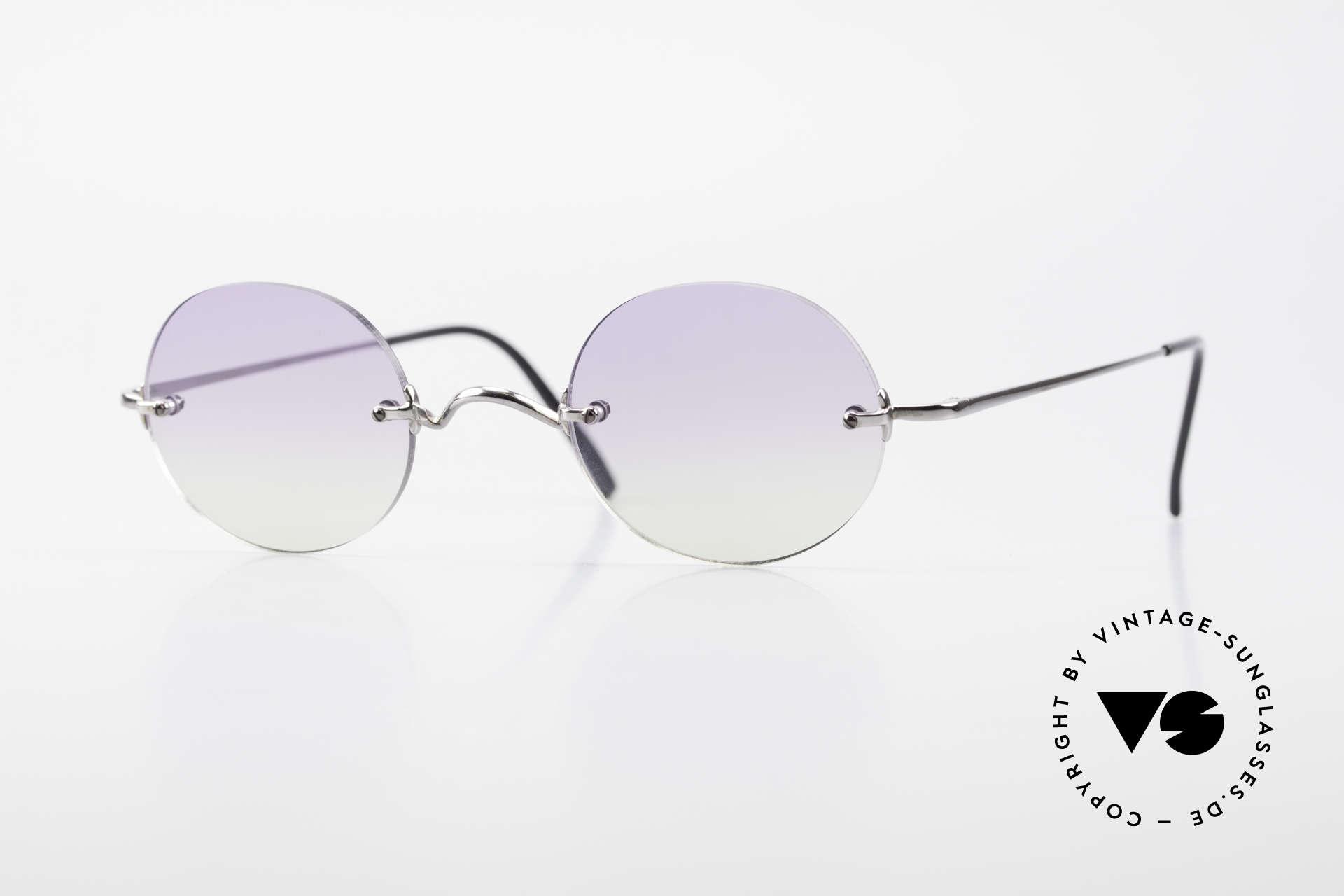 Freudenhaus Flemming Round Rimless Sunglasses, rimless designer shades by FREUDENHAUS, Munich, Made for Men and Women