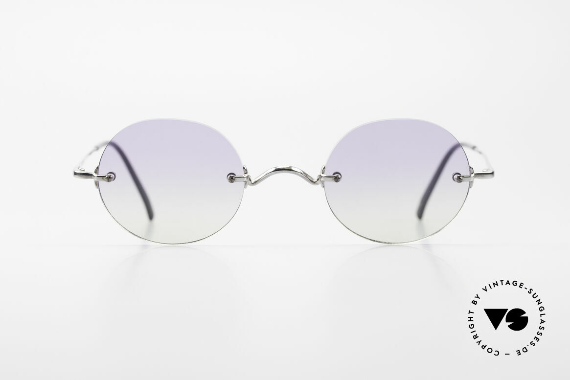 "Freudenhaus Flemming Round Rimless Sunglasses, 'Freudenhaus' means ""cathouse / house of pleasure"", Made for Men and Women"