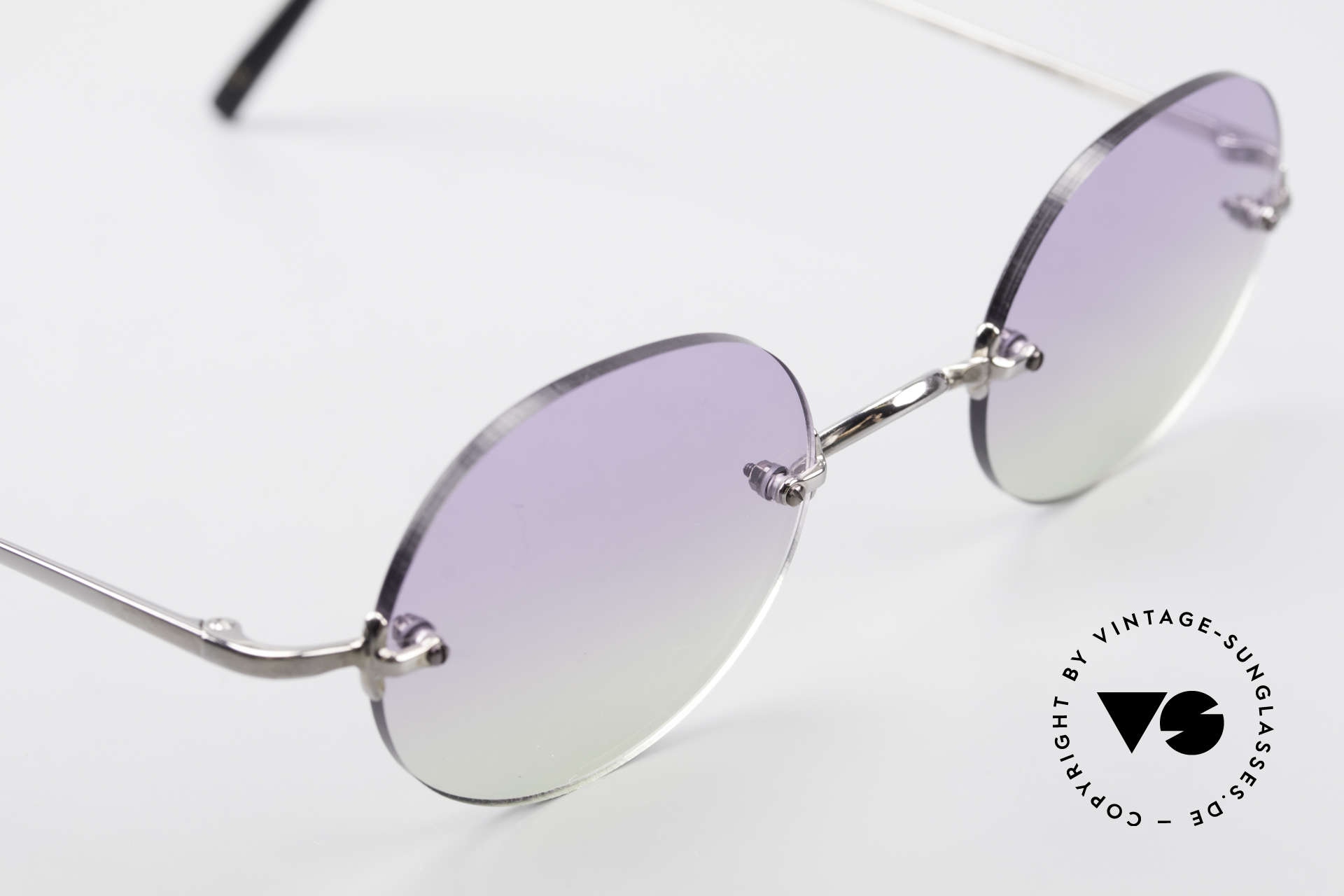 Freudenhaus Flemming Round Rimless Sunglasses, unworn (like all our rare vintage designer sunglasses), Made for Men and Women