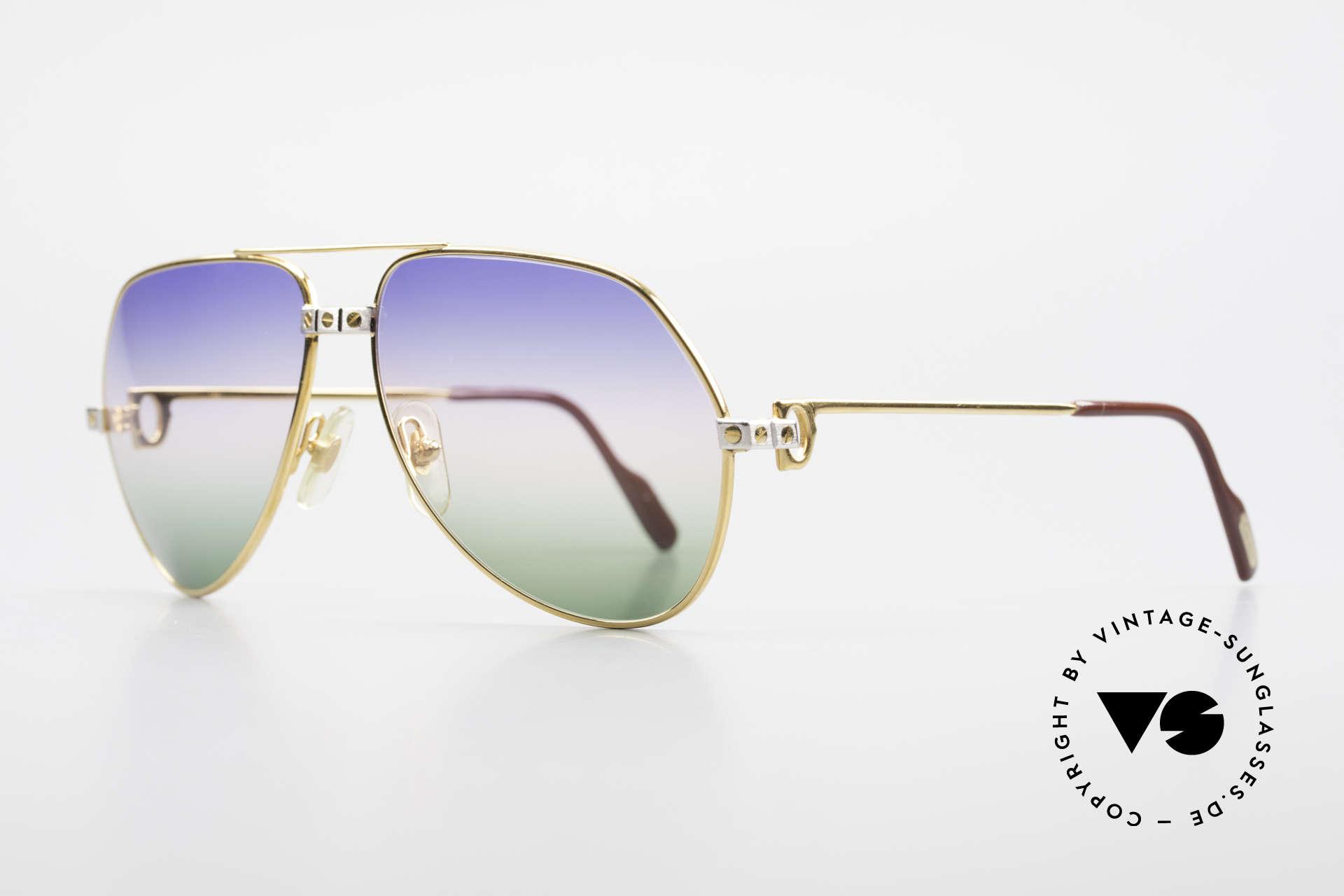 Cartier Vendome Santos - M Rare Luxury Aviator Shades, Santos Decor (with 3 screws): MEDIUM size 59-14, 130, Made for Men and Women