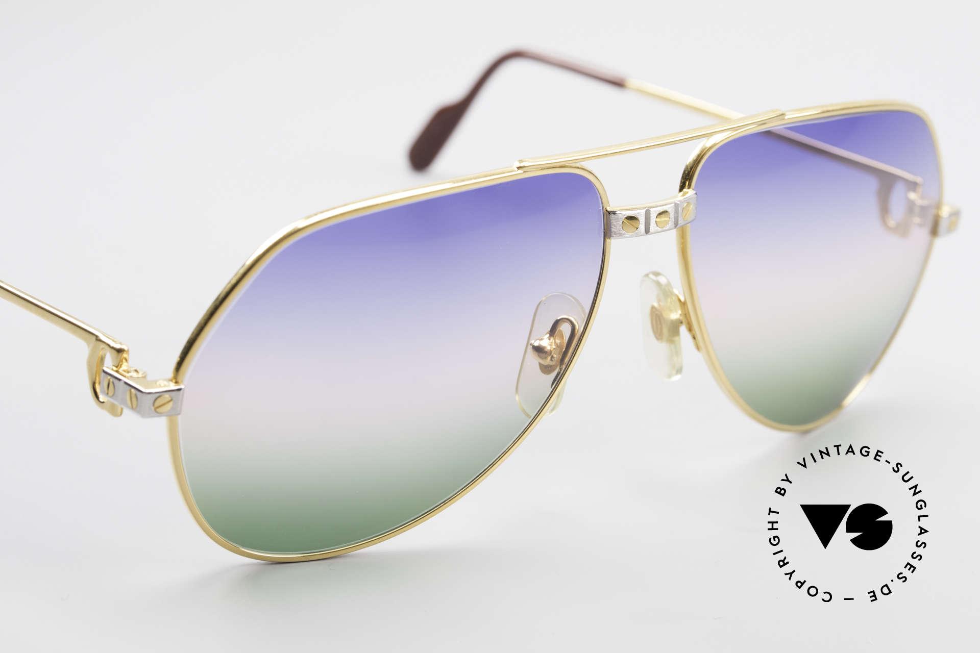 Cartier Vendome Santos - M Rare Luxury Aviator Shades, ultra rare, new TRICOLOR customized GRADIENT lenses, Made for Men and Women