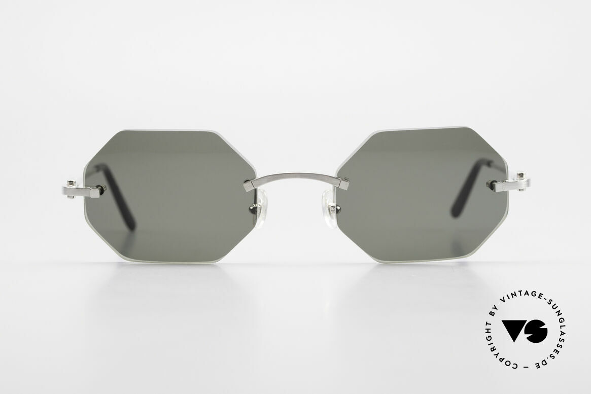 Cartier C-Decor Octag Octagonal Luxury Sunglasses, octagonal rimless CARTIER luxury shades from '99, Made for Men