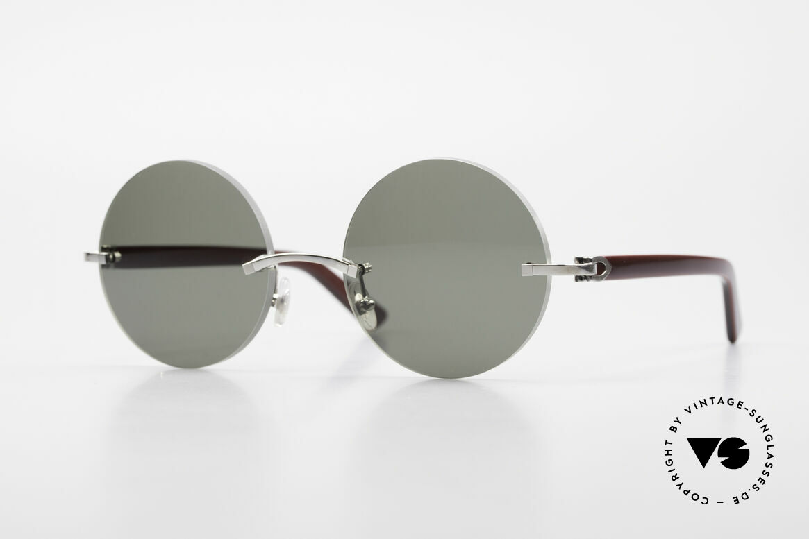 Cartier C-Decor Madison Small Round Luxury Shades, noble rimless CARTIER luxury sunglasses from 1999, Made for Men and Women