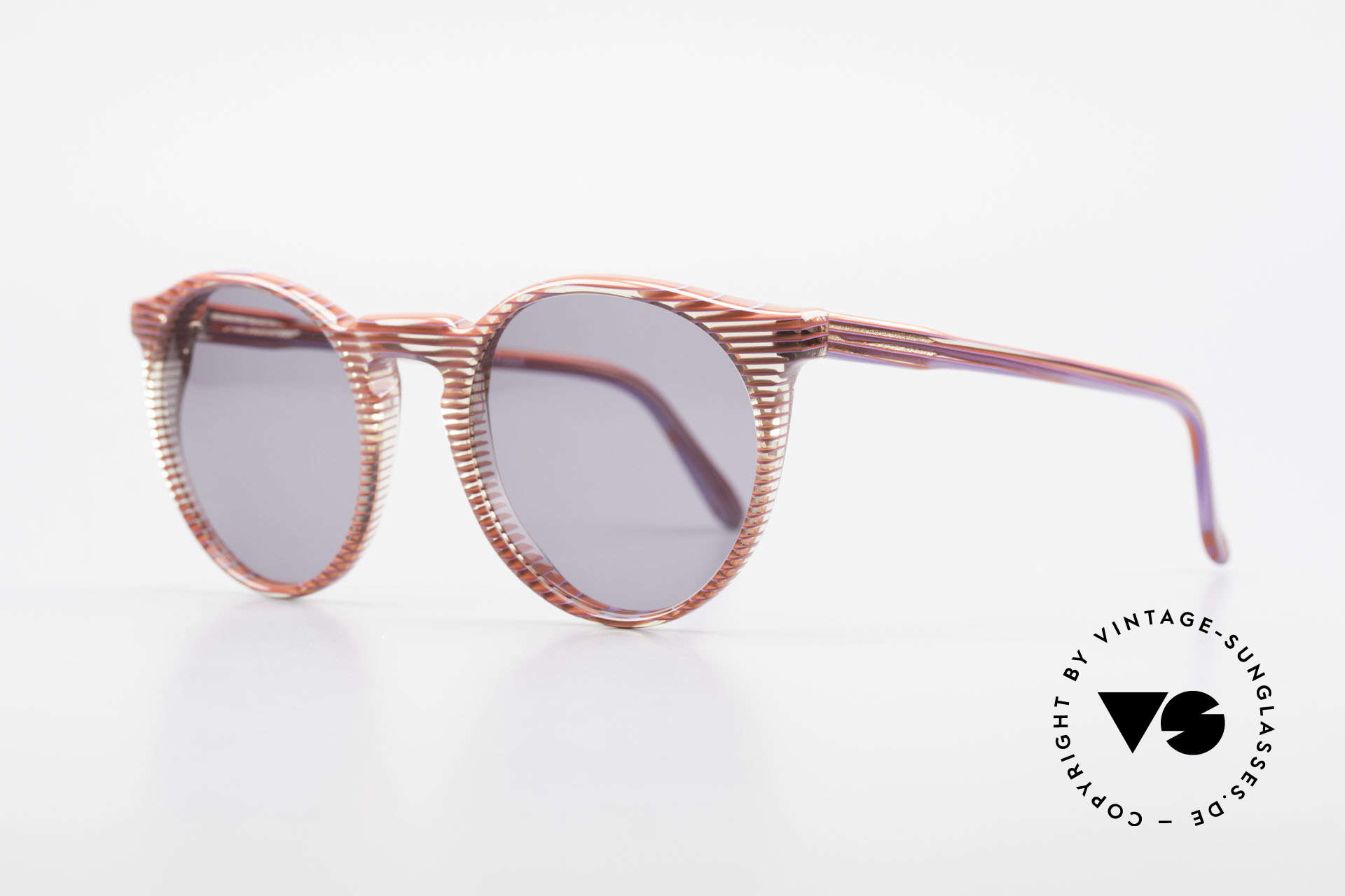 Alain Mikli 034 / 274 80's Ladies Panto Sunglasses, truly unique; with stripes in red / crystal / purple, Made for Women