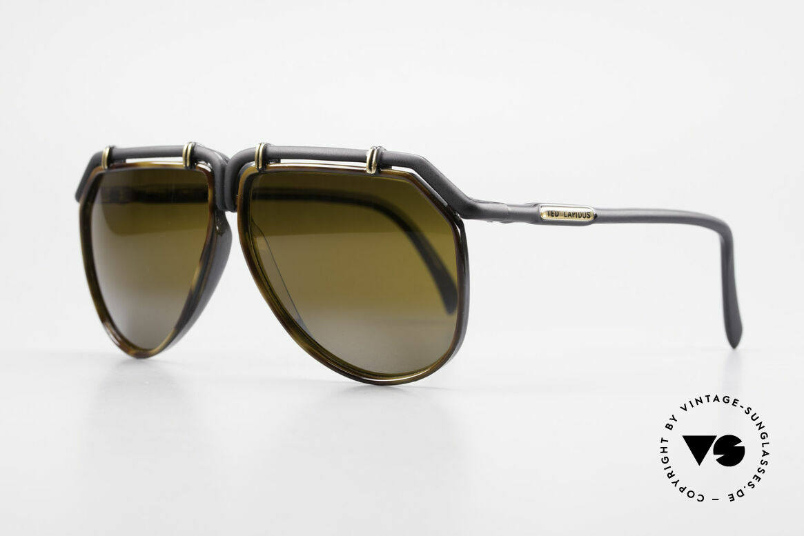 """Ted Lapidus 1623 70's Men's Sunglasses Aviator, the frame coloring looks dulled black and """"tortoise"""", Made for Men"""
