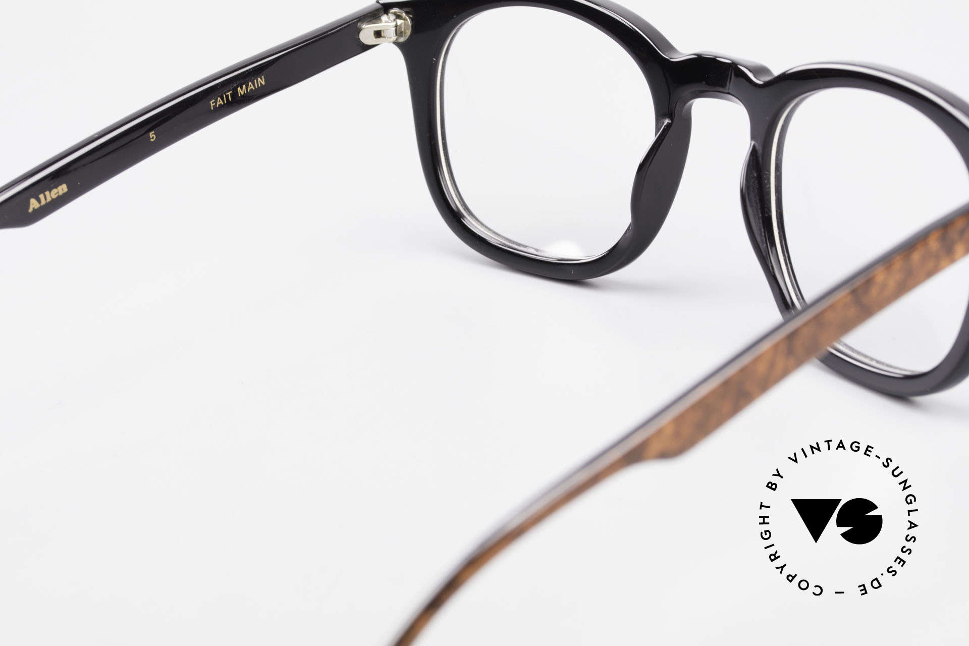 Traction Productions Allen Woody Allen Glasses 1980's, frame can be glazed optionally (optical and sun), Made for Men and Women
