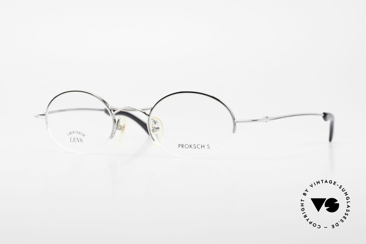 W Proksch's M35/2 Semi Rimless 90's Avantgarde, oval vintage eyeglasses by Proksch's from 1995/96, Made for Men