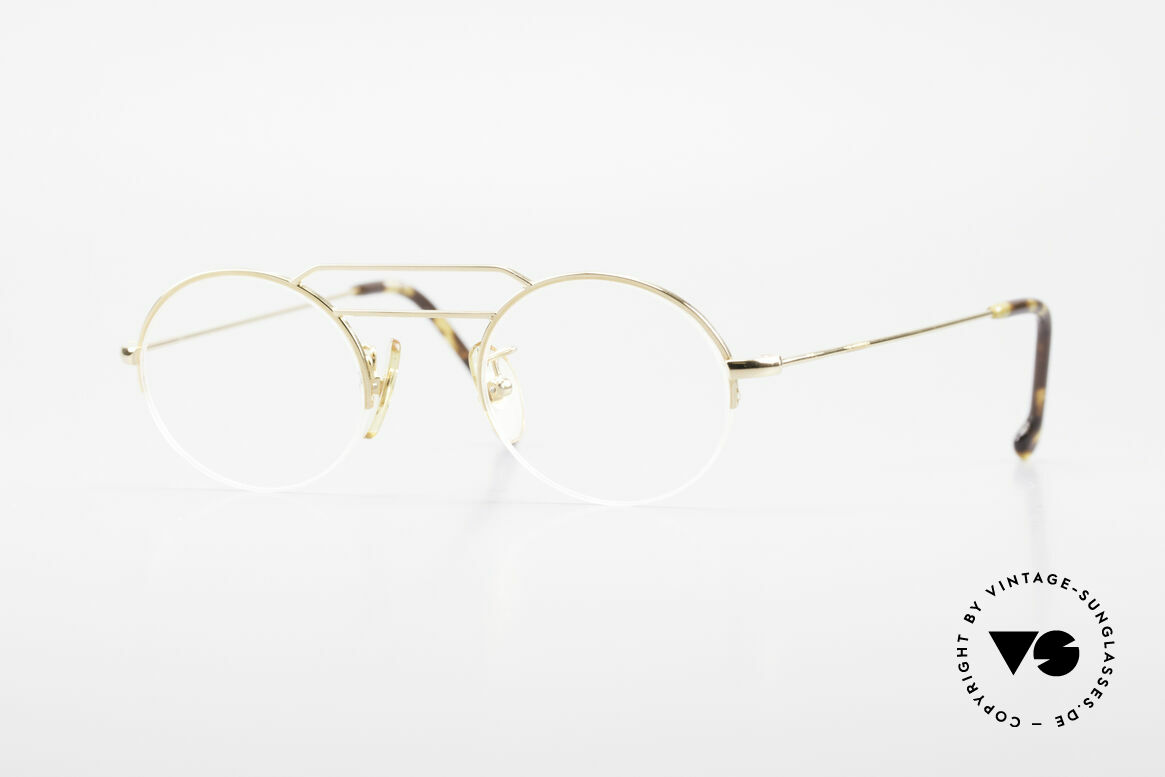 W Proksch's M5/7 90's Semi Rimless Gold-Plated, GOLD-plated Proksch's vintage glasses from 1994, Made for Men and Women