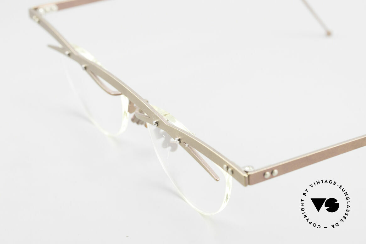 Theo Belgium Tita III 4 Crazy Vintage Glasses XL 90's, the clear DEMO lenses are fixed with screws at the frame, Made for Men and Women