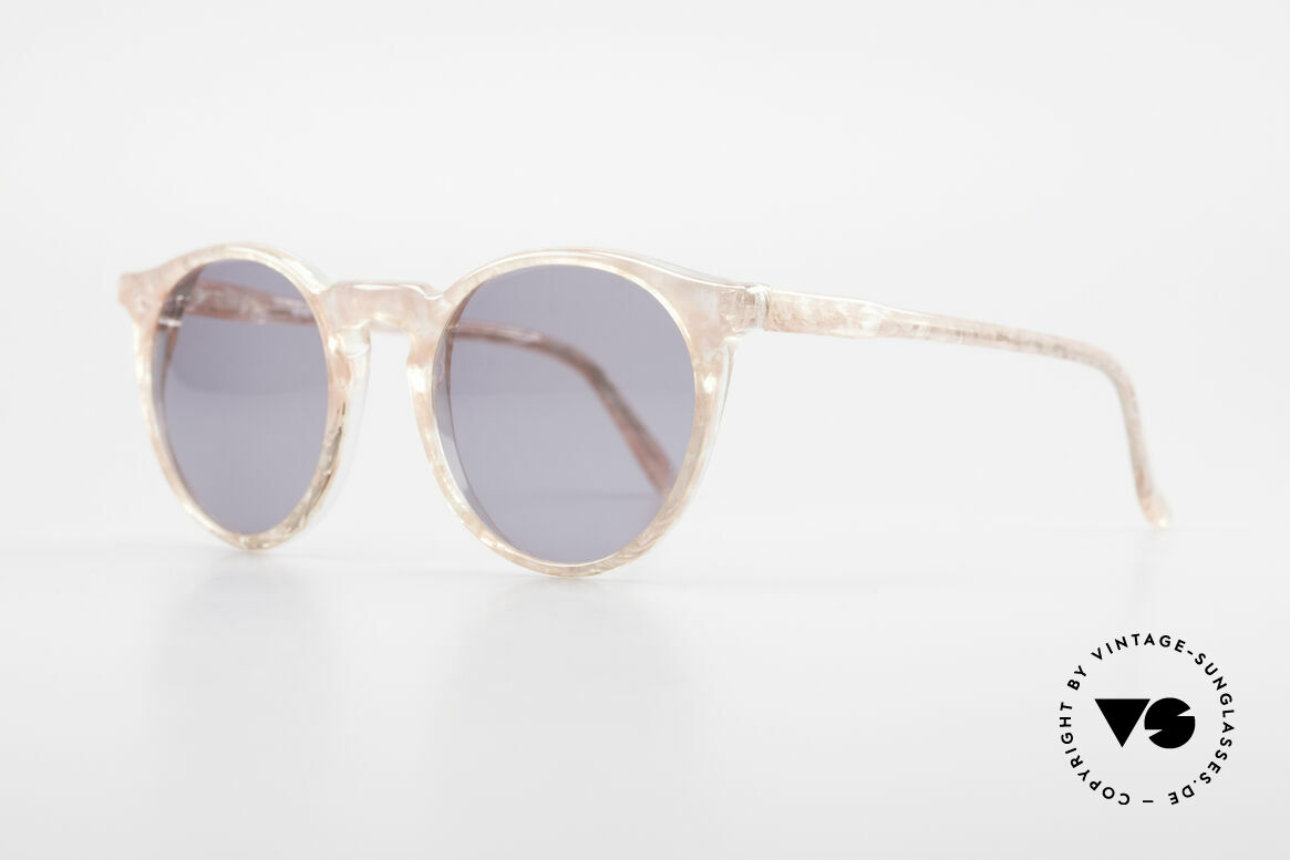 Alain Mikli 034 / 348 80's Panto Sunglasses Ladies, truly unique; peach marbled / crystal + gray lenses, Made for Women