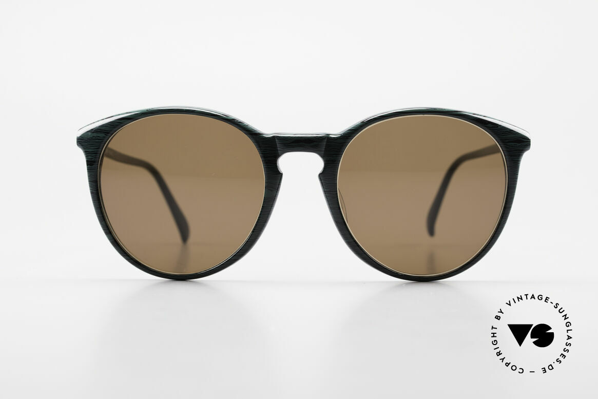 Alain Mikli 901 / 285 Green Marbled Panto Frame, classic 'panto'-design with dark brown sun lenses, Made for Men and Women