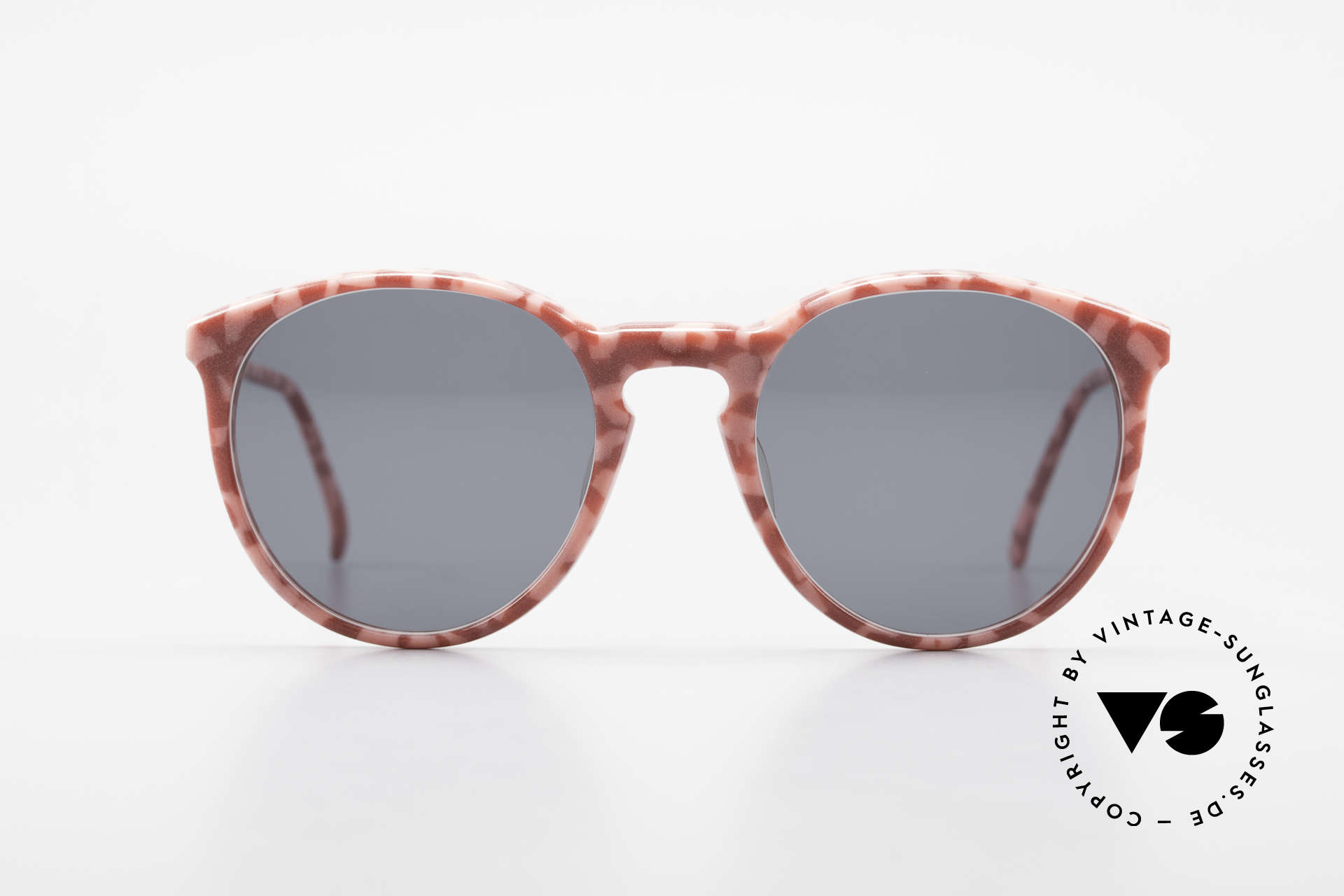 Alain Mikli 901 / 172 Panto Frame Red Pink Marbled, classic 'panto'-design with solid gray sun lenses, Made for Women