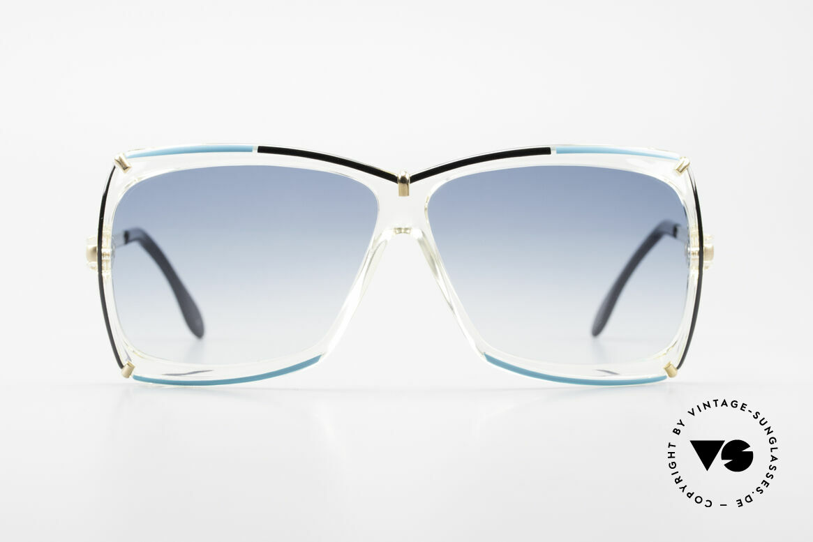 Cazal 864 Rare 80's Cazal XL Sunglasses, color concept in crystal / black / turquois / gold, Made for Women